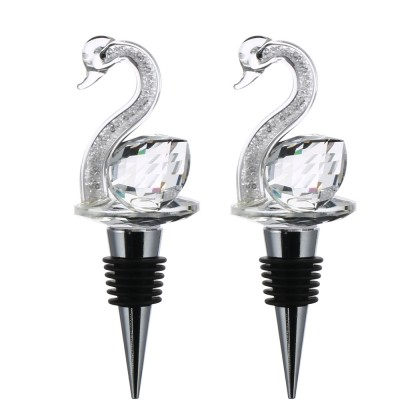 Luxury Crystal Swan Wine Stopper Set