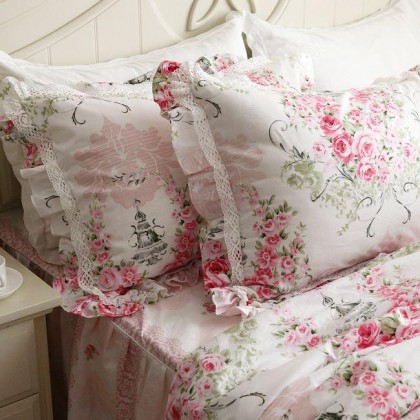 Victorian Pink Rose Pillow Sham