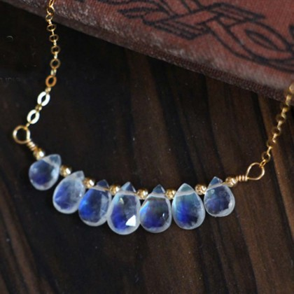 Blue Fire Opal Moonstone Necklace