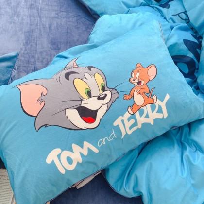 Tom and Jerry Fleece Duvet Cover Set-Blue