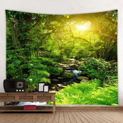 Forest Green Tree Fashion Bohemian Wall Art Tapestry