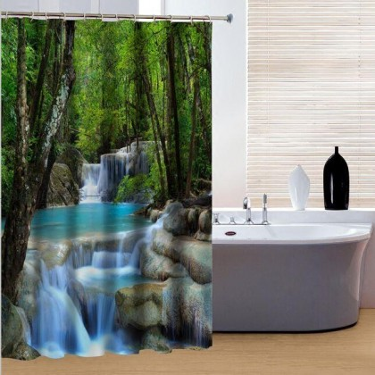 Peaceful River Waterfall in Forest Shower Curtain