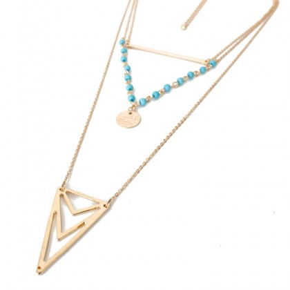 Turquoise Triangle Layered Necklace