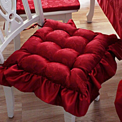 Red Tufted Seat Cushion