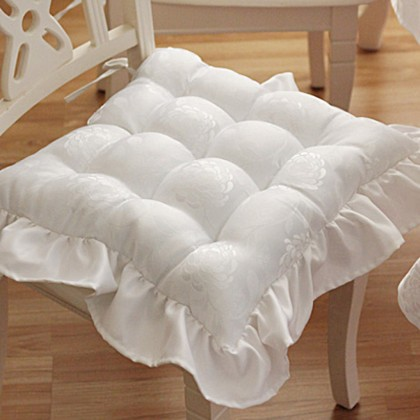 White Tufted Seat Cushion