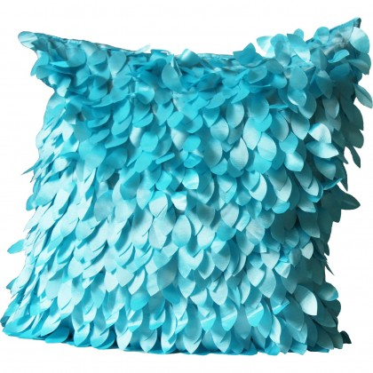 Feather Leaves Cushion Cover, Turquoise