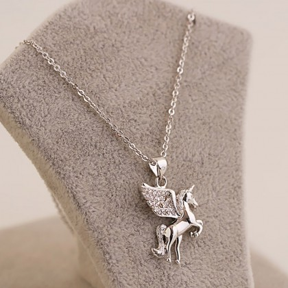 Unicorn Necklace Earrings Set