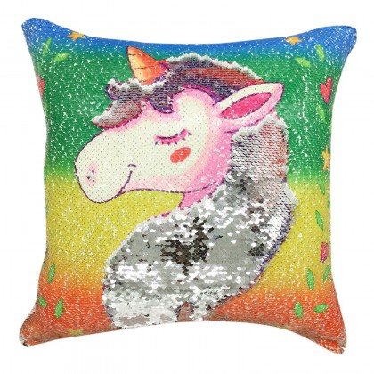 Sparkle Glitter Sequin Unicorn Cushion Cover