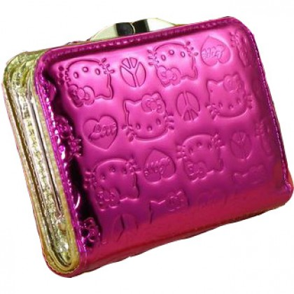 Hello Kitty Shiny Patent Embossed Fuschia Small Purse