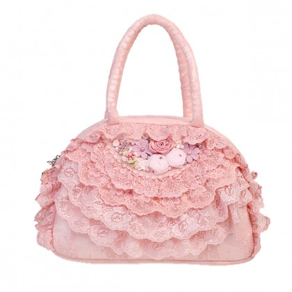 Pink Lace Ruffled Bag