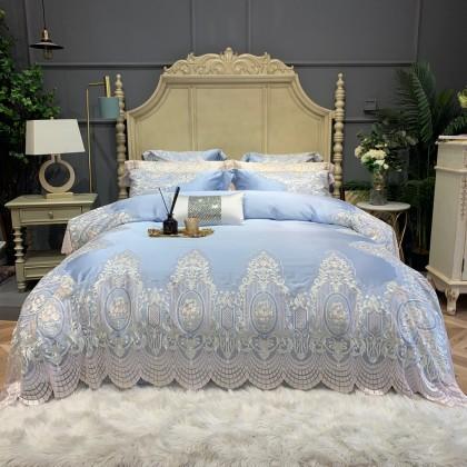 Victorian Lace Egyptian Cotton Duvet Cover Set-Blue