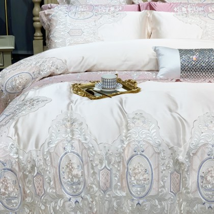 Victorian Lace Egyptian Cotton Duvet Cover Set-Ivory