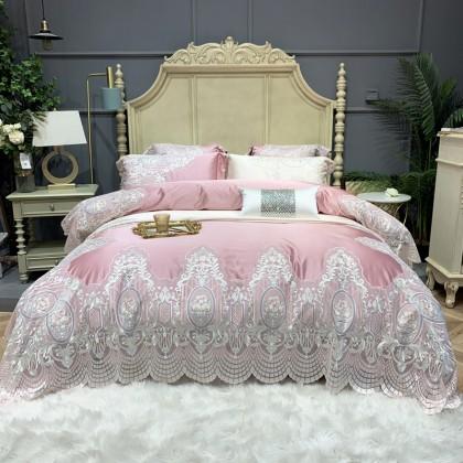Victorian Lace Egyptian Cotton Duvet Cover Set-Pink