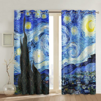 Vincent Van Gogh Starry Night Over the Rhone Art Curtain Set