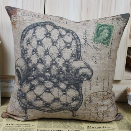 Vintage Tufted Arm Chair Cushion Cover