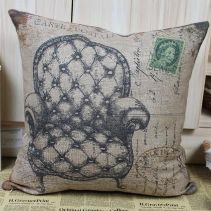 Vintage Tufted Arm Chair Cushion Cover