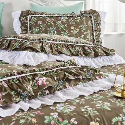 Vintage Garden Double Ruffle Lace Duvet Cover Set