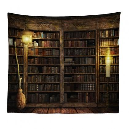 Vintage Library Bookshelf Tapestry