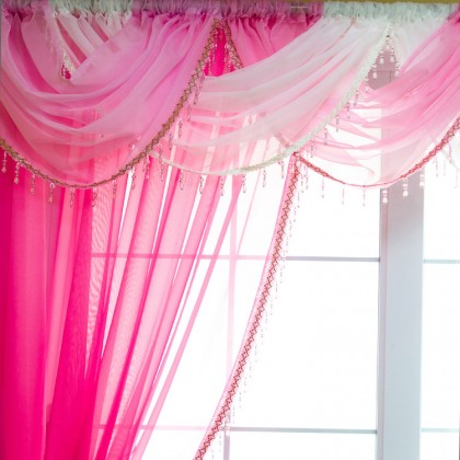 Voile Waterfall Bead Fringe Valance
