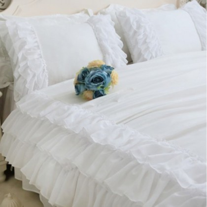 White Triple Chiffon Ruffle Pillow Sham