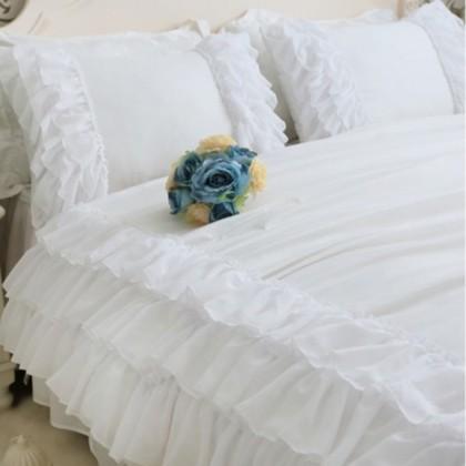 White Triple Chiffon Ruffle Pillow Sham