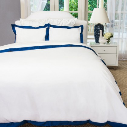 White Blue Greek Duvet Cover Set