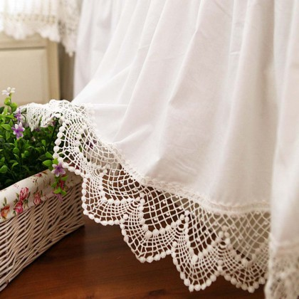 White Cotton Double Lace Bedskirt for KC