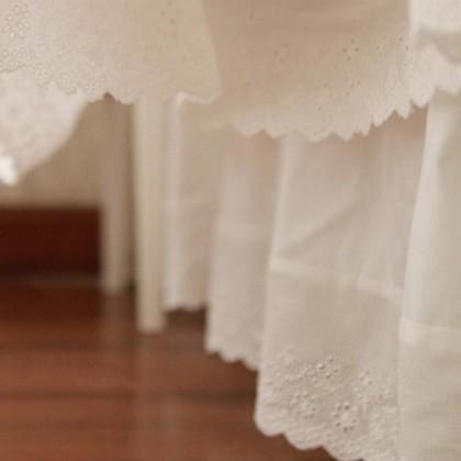 White Eyelet Lace Ruffle Bedskirt