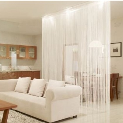 "White String Curtain Panel 149"" L"