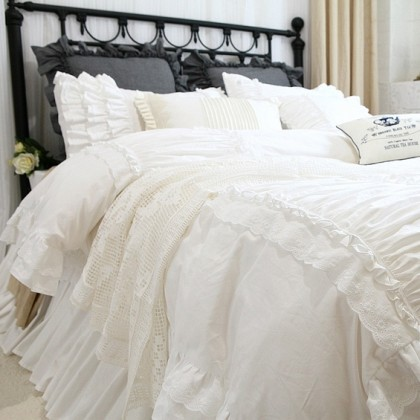 White Luxury Ruffle Duvet Cover Set