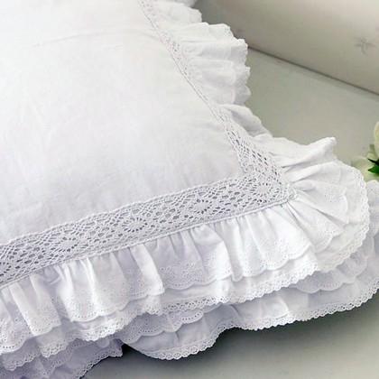 Lace Love Ruffle Cushion Cover, White