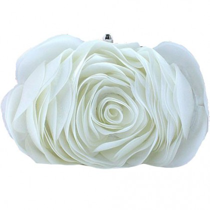 3D Rose Purse, White