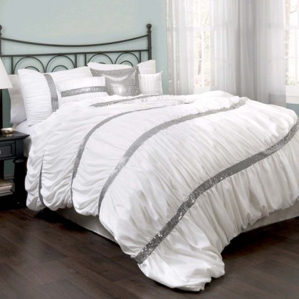 White Ruched Gitter Duvet Cover Set