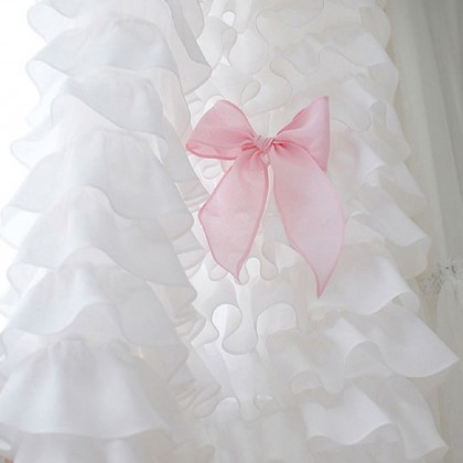 Custom Made White Waterfall Ruffle Curtain