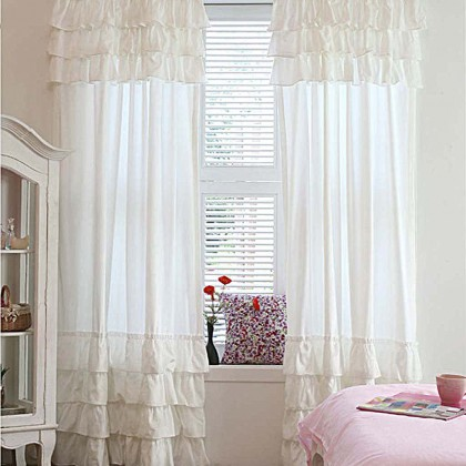 Custom Make  Ruffle Curtain Panel- Pure White