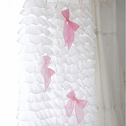 White Waterfall Ruffle Curtain Set