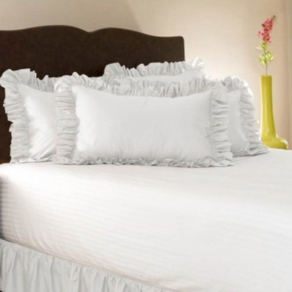 Simply Ruffle Pillow Cover - White