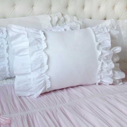 Double Ruffle White Pillow Sham