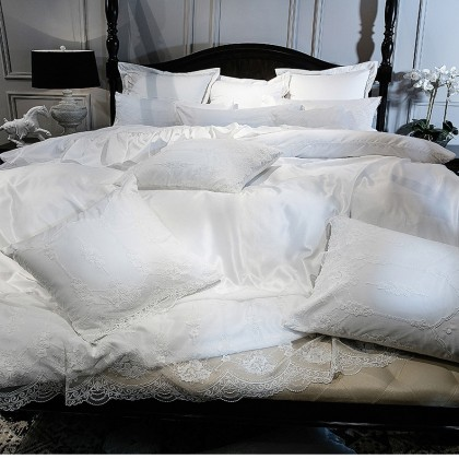 French Lace White Embroidery Luxury Duvet Cover Set