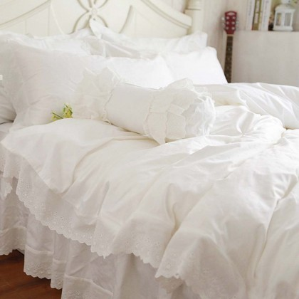 White Eyelet Lace Duvet Cover Set