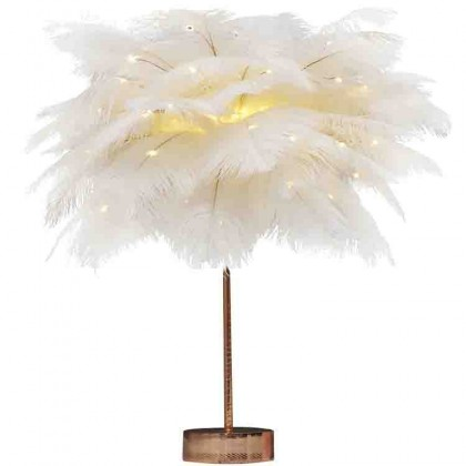 White Ostrich Feather Desk Lamp DIY Kit