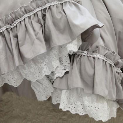 Double Ruffle Lace Duvet Cover Set- Grey