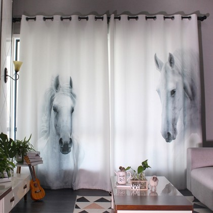 White Horses Curtain Panel Set