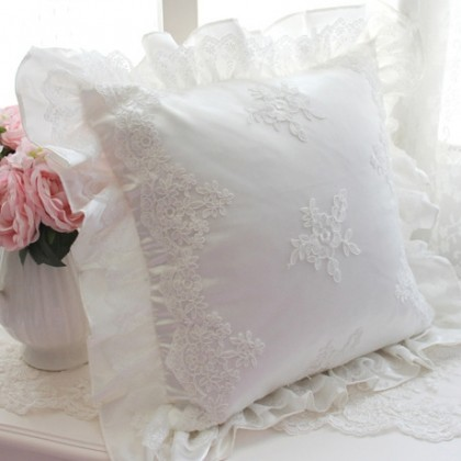 Isabella Embroidery Lace Cushion Cover-White