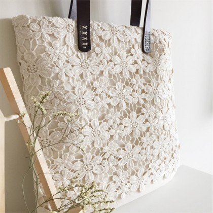 Handmade Cream White Embroidery Flower Lace Tote Bag