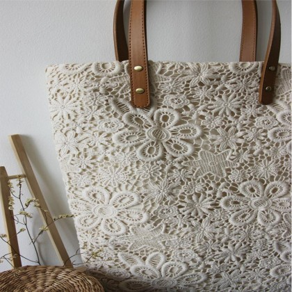 Handmade Cream Embroidery Vintage Lace Tote Bag