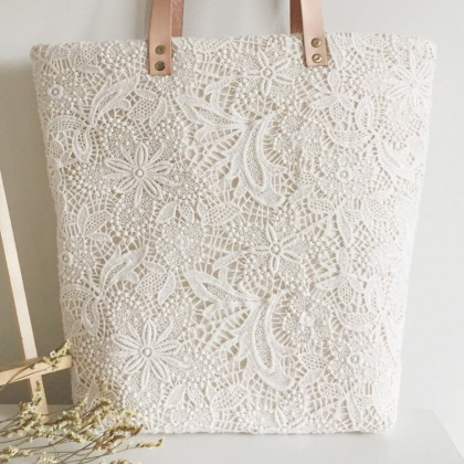 Handmade Cream White Embroidery Lace Tote Bag