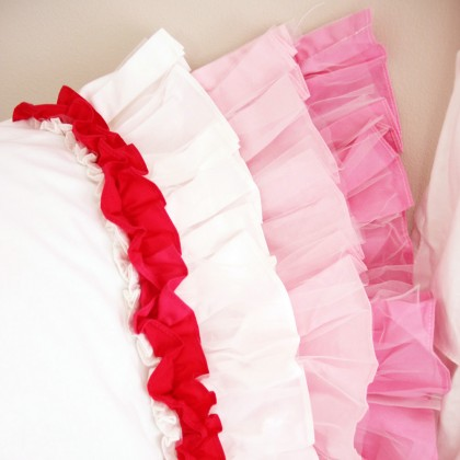 Pink White Gradient Sheer Ruffled Pillow Sham