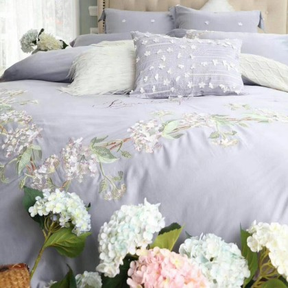 Purple Hydrangea Embroidery Luxury Duvet Cover Set