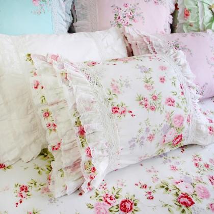 Lace Love Pillow Sham, White Romance Rose